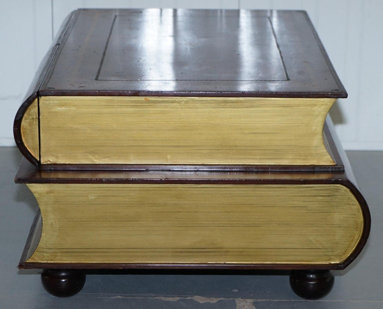 Leather Theodore Alexander Faux Scholars Books Large Coffee Table with Drawers For Sale 4