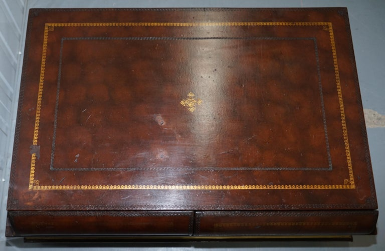 Leather Theodore Alexander Faux Scholars Books Large Coffee Table with Drawers For Sale 5