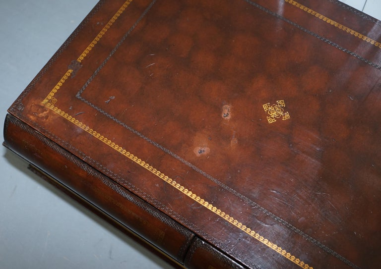 Leather Theodore Alexander Faux Scholars Books Large Coffee Table with Drawers For Sale 6