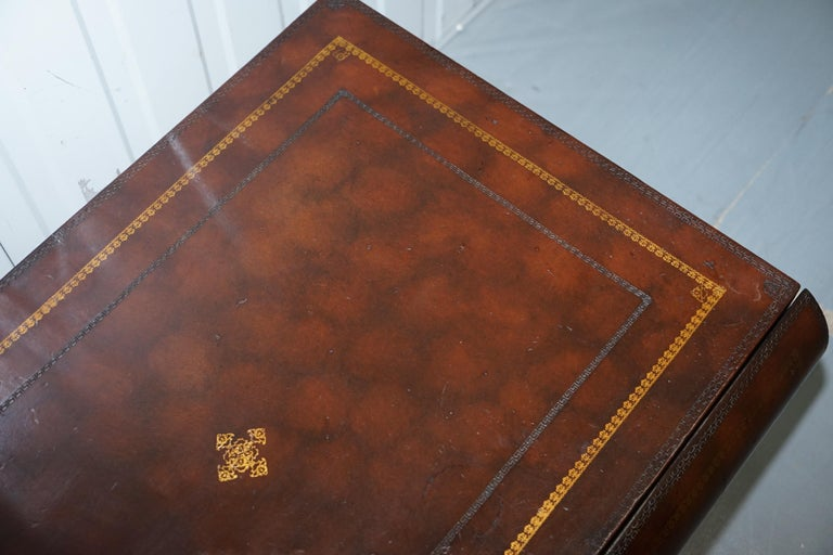 Leather Theodore Alexander Faux Scholars Books Large Coffee Table with Drawers For Sale 7