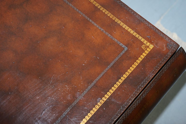 Leather Theodore Alexander Faux Scholars Books Large Coffee Table with Drawers For Sale 8