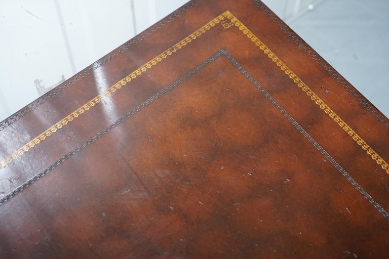 Leather Theodore Alexander Faux Scholars Books Large Coffee Table with Drawers For Sale 9