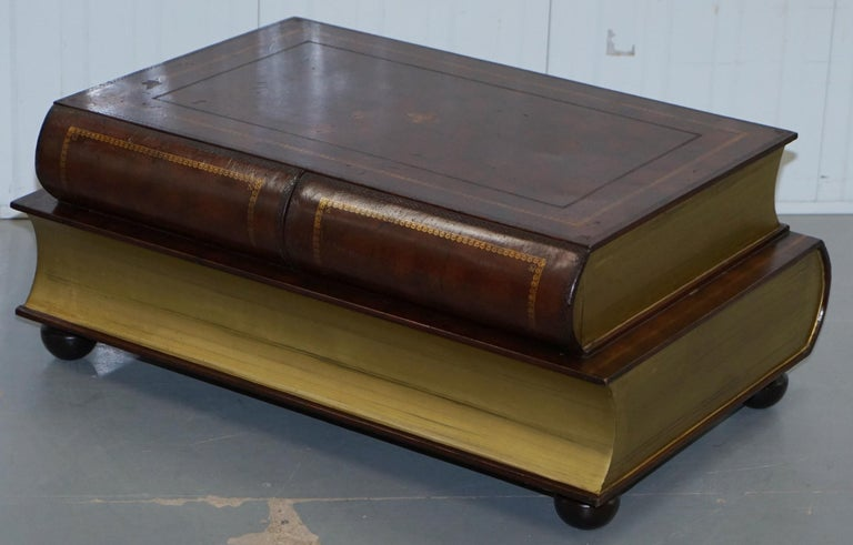 Modern Leather Theodore Alexander Faux Scholars Books Large Coffee Table with Drawers For Sale