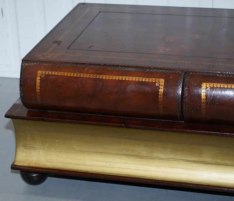 Hand-Crafted Leather Theodore Alexander Faux Scholars Books Large Coffee Table with Drawers For Sale