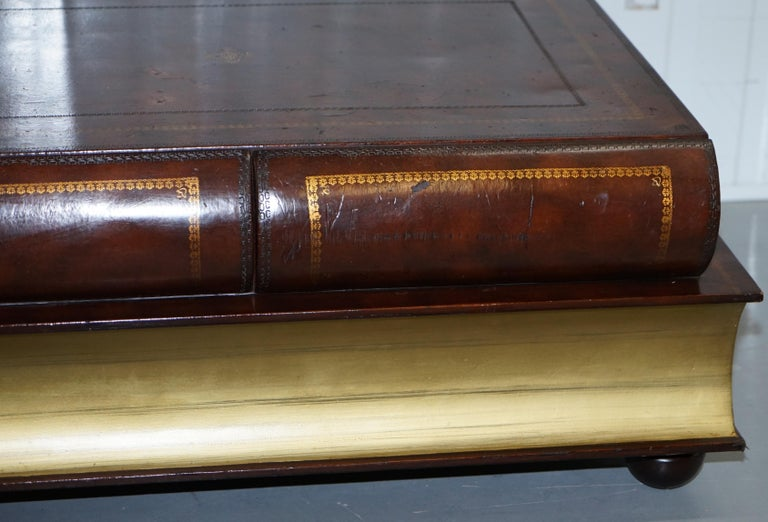 Leather Theodore Alexander Faux Scholars Books Large Coffee Table with Drawers In Fair Condition For Sale In London, GB