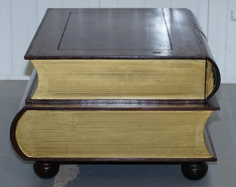 Contemporary Leather Theodore Alexander Faux Scholars Books Large Coffee Table with Drawers For Sale