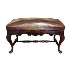 Leather Top Bench, England, 19th Century