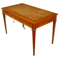 Leather Top Louis XVI Style Writing Desk with Brass Trim