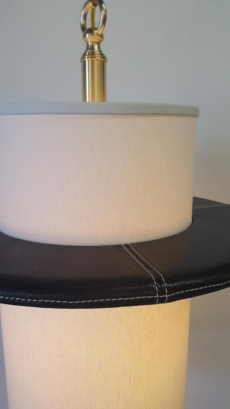 Modern Leather Top-Stitched Pendant by Paul Marra For Sale