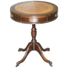 Leather Topped Three-Drawer Regency Style Drum Side End Lamp Table Bronze Plaque