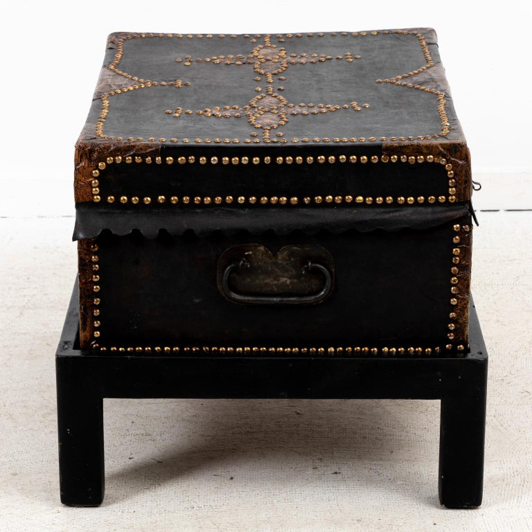 19th Century Leather Trunk For Sale