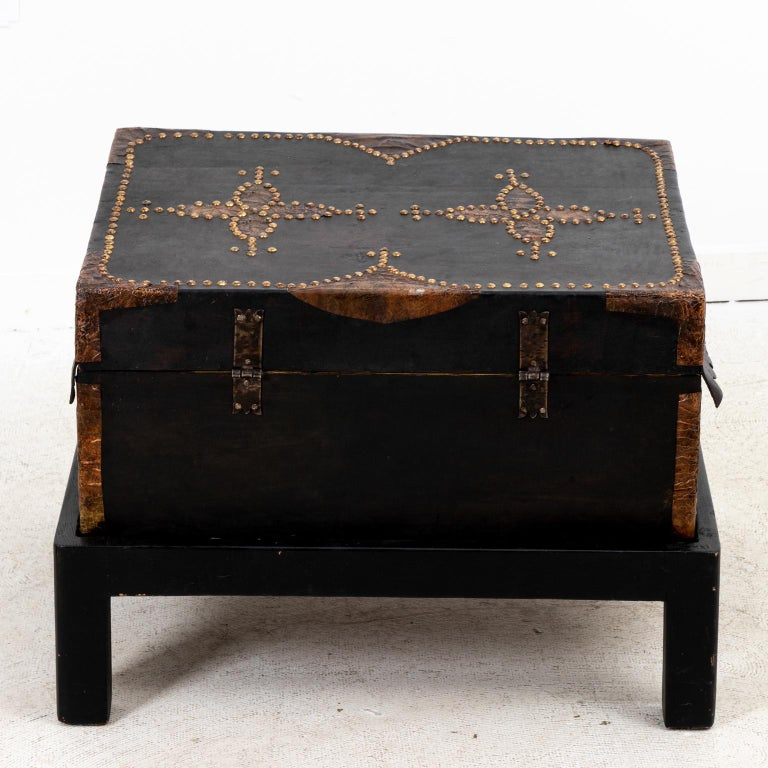 Metal Leather Trunk For Sale