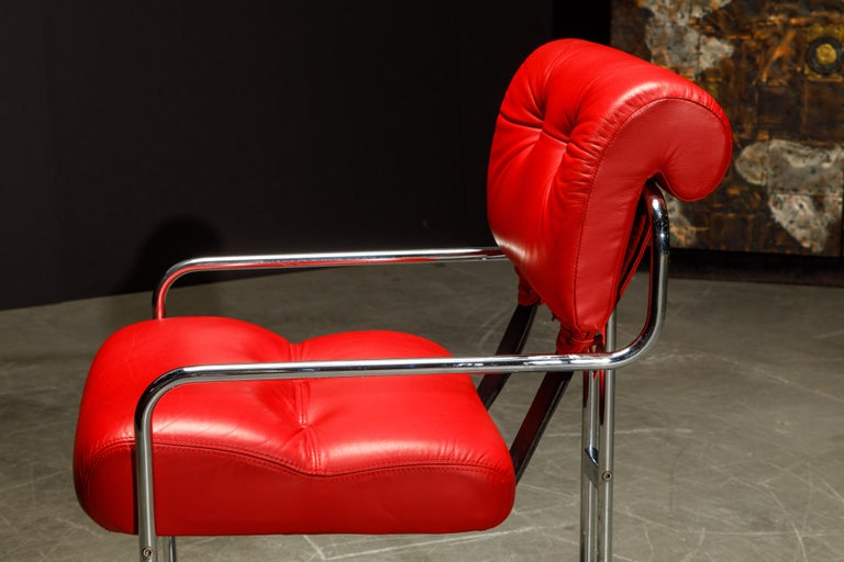 Leather 'Tucroma' Armchairs by Guido Faleschini for i4 Mariani, 1980s, Signed For Sale 12