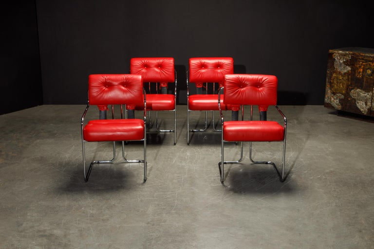 Modern Leather 'Tucroma' Armchairs by Guido Faleschini for i4 Mariani, 1980s, Signed For Sale