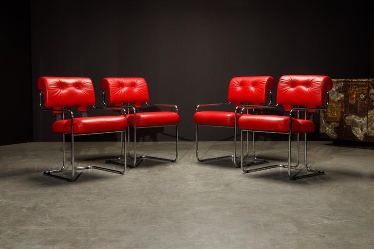 Italian Leather 'Tucroma' Armchairs by Guido Faleschini for i4 Mariani, 1980s, Signed For Sale