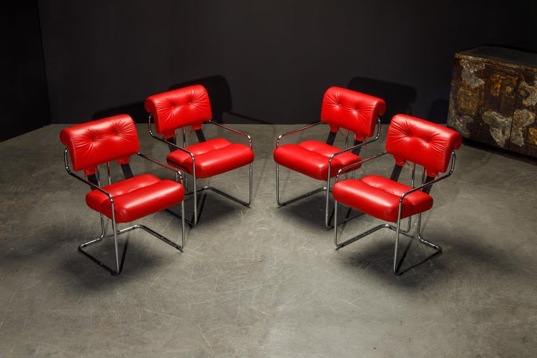 Late 20th Century Leather 'Tucroma' Armchairs by Guido Faleschini for i4 Mariani, 1980s, Signed For Sale