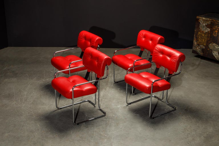 Leather 'Tucroma' Armchairs by Guido Faleschini for i4 Mariani, 1980s, Signed For Sale 1