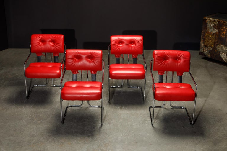 Leather 'Tucroma' Armchairs by Guido Faleschini for i4 Mariani, 1980s, Signed For Sale 2