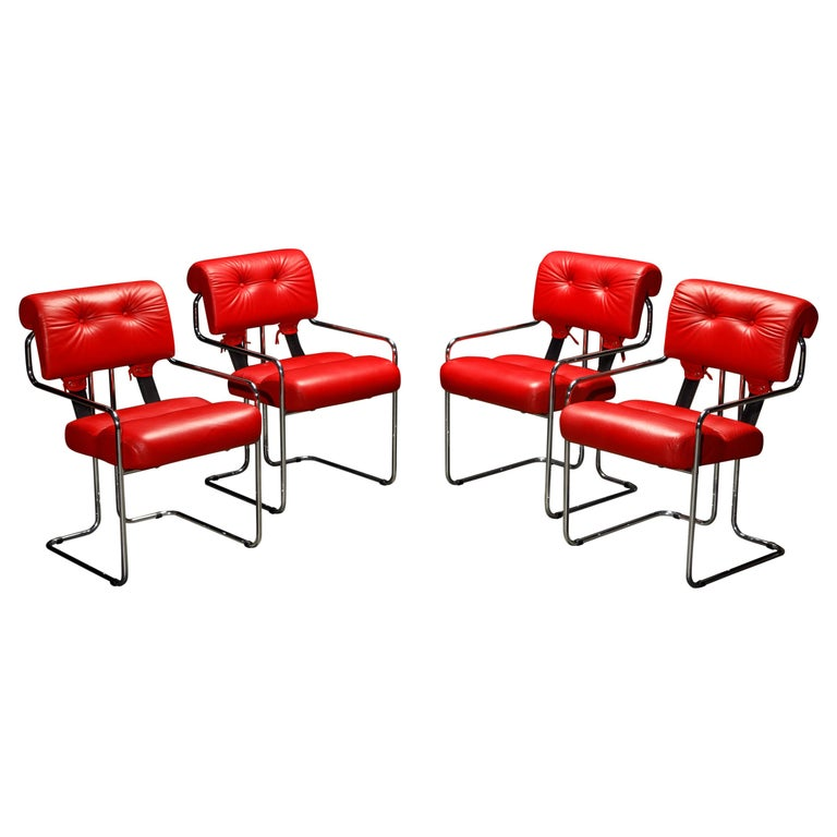 Leather 'Tucroma' Armchairs by Guido Faleschini for i4 Mariani, 1980s, Signed For Sale