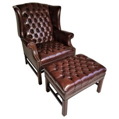Brown Leather Tufted Wingback Chair with Ottoman Midcentury 1960s Ethan Allen