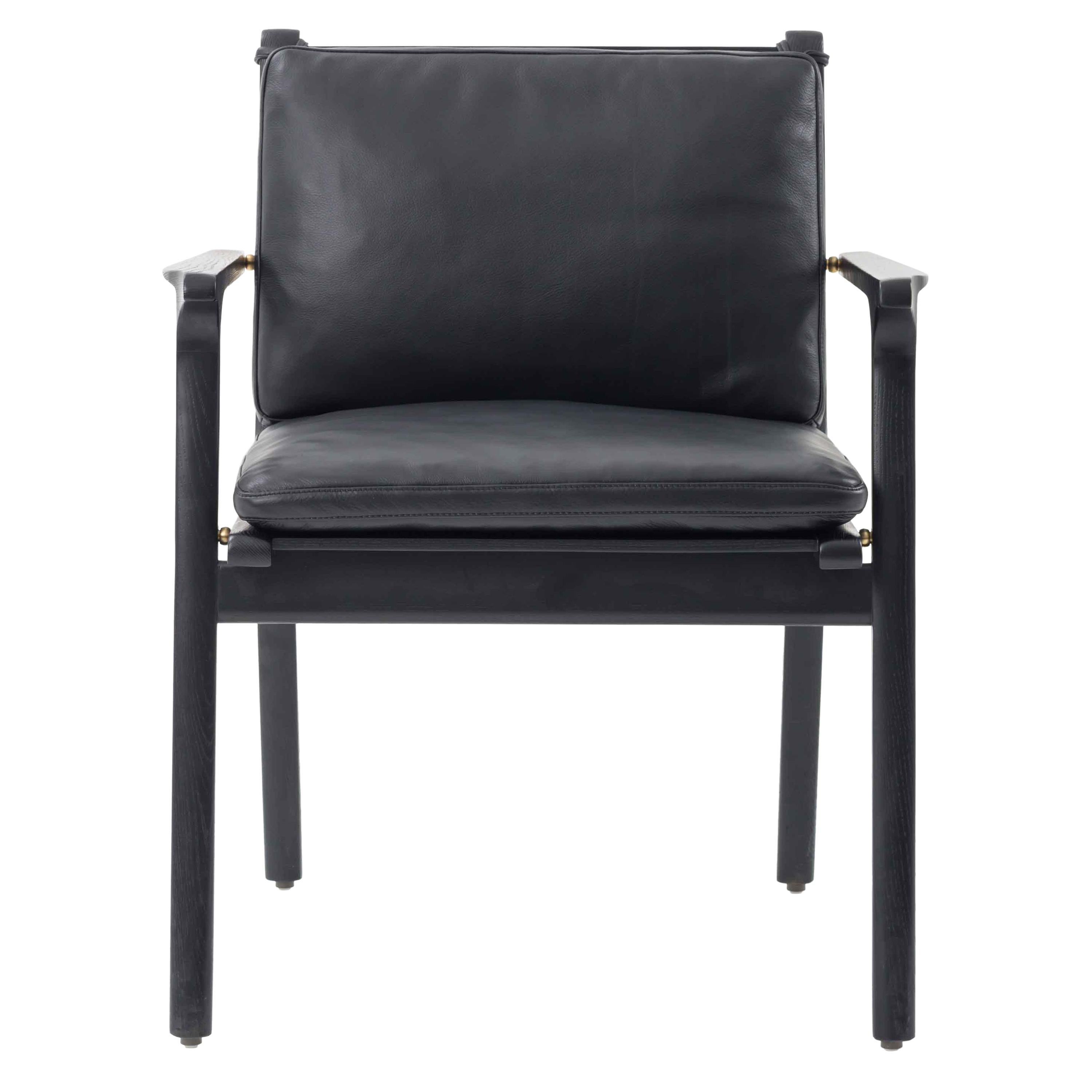 Leather Upholstered and Oak Wood Dining Arm Chair, Ren