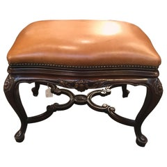 Leather Upholstered Bench with Walnut Base