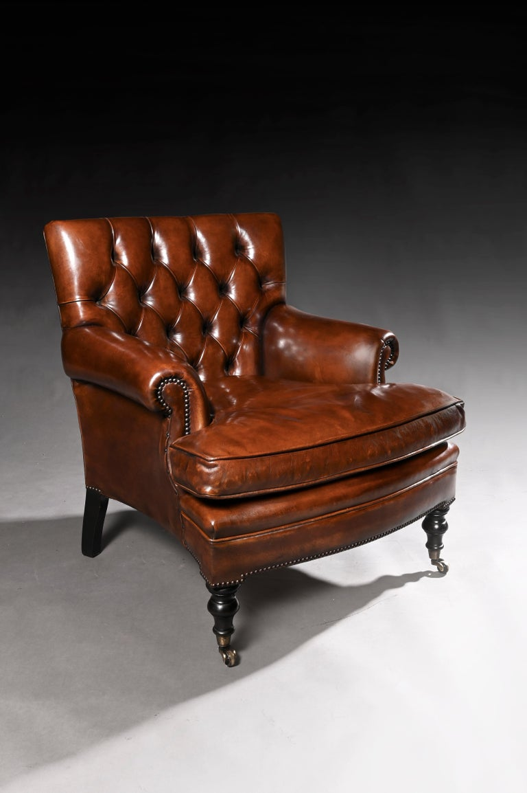 Victorian Leather Upholstered Buttoned Back Armchair For Sale