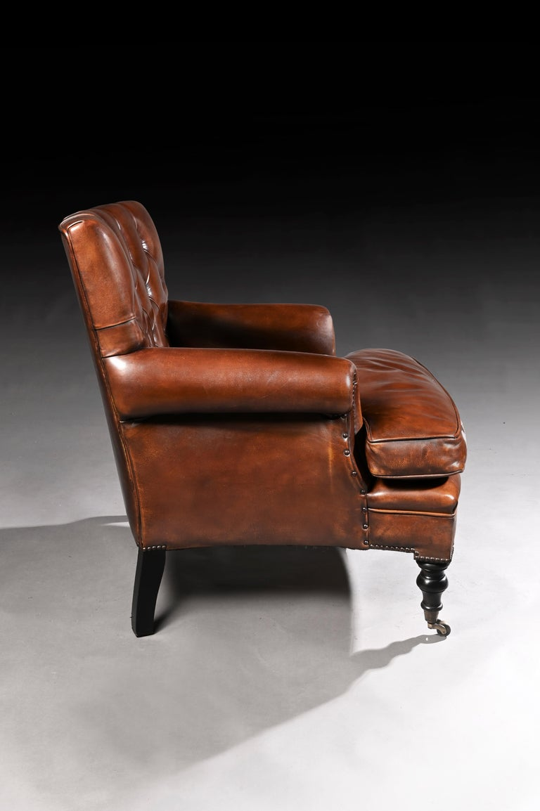English Leather Upholstered Buttoned Back Armchair For Sale