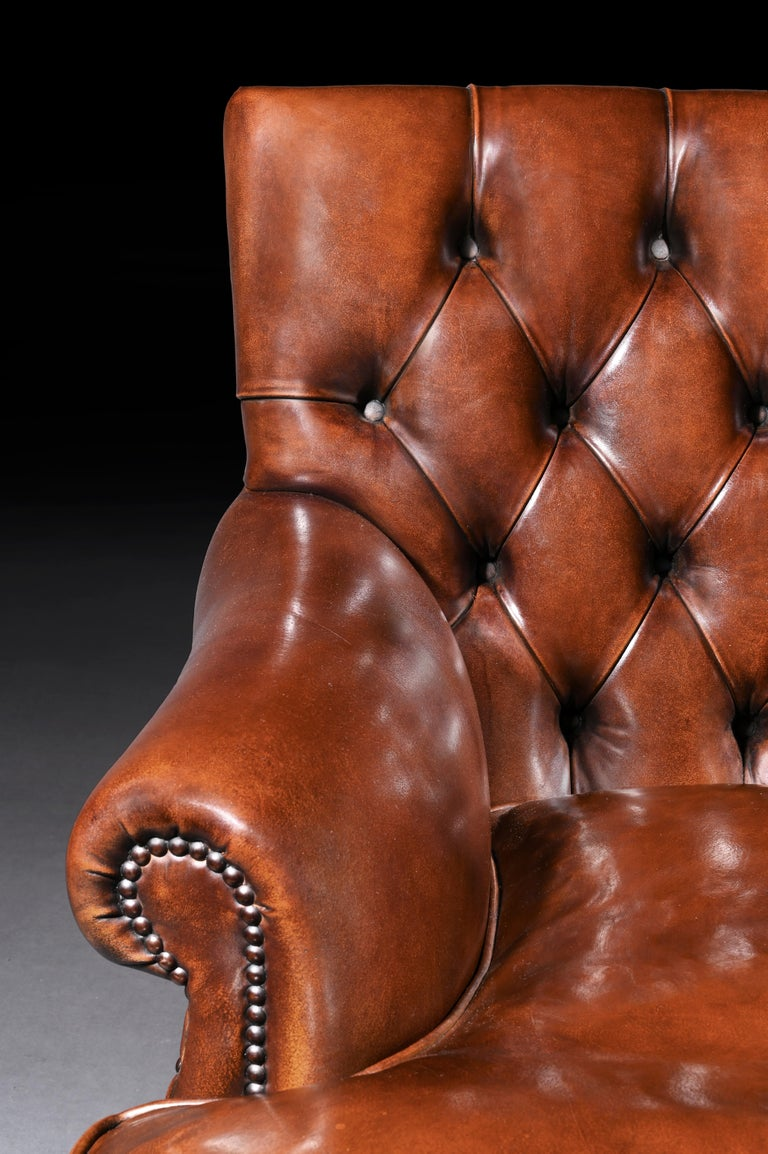 Leather Upholstered Buttoned Back Armchair In Excellent Condition For Sale In Benington, Herts