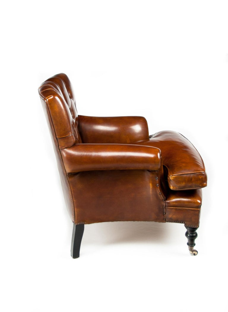 Leather Upholstered Buttoned Back Armchair For Sale at 1stdibs