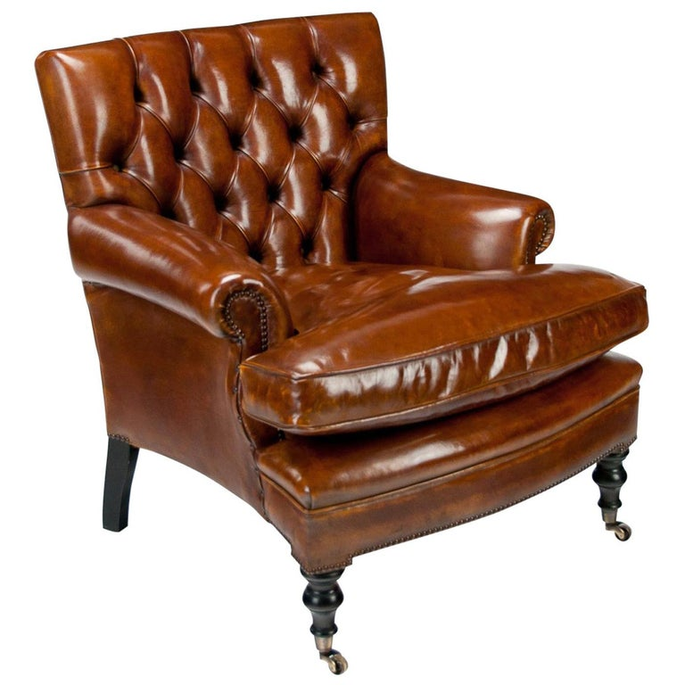 Leather Upholstered Buttoned Back Armchair For Sale