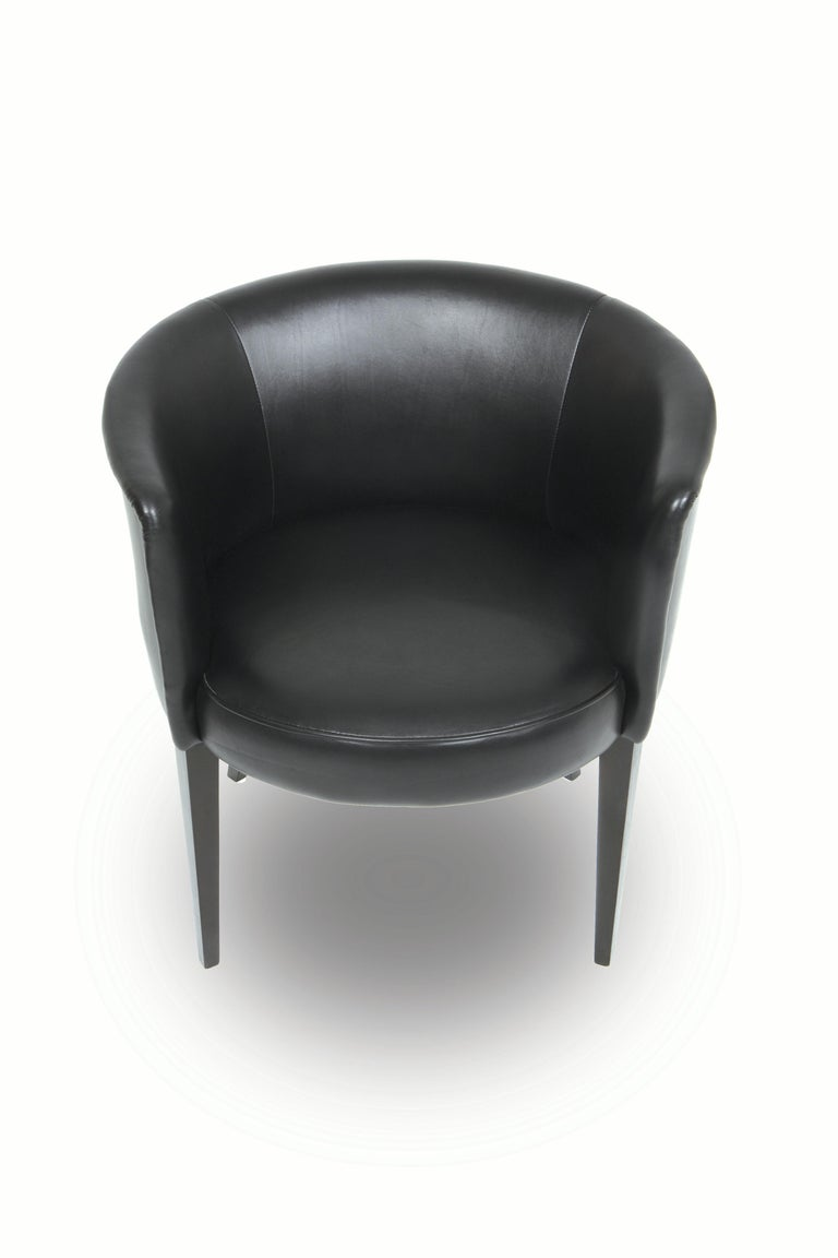 American Round Upholstered Chair in Leather, Vica designed by Annabelle Selldorf For Sale