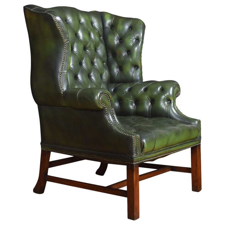 Leather Upholstered Wingback Armchair For Sale at 1stdibs