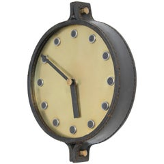Leather Wall Clock in the Manner of Carl Auböck