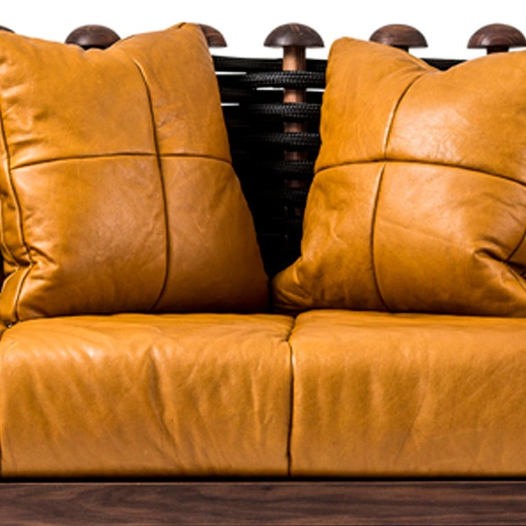 Modern Leather, Walnut and Rope Shaker Sofa by Egg Designs For Sale