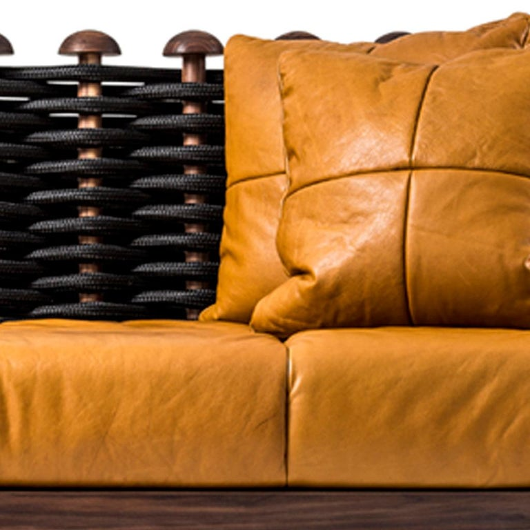 Leather, Walnut and Rope Shaker Sofa by Egg Designs In New Condition For Sale In Bothas Hill, KZN