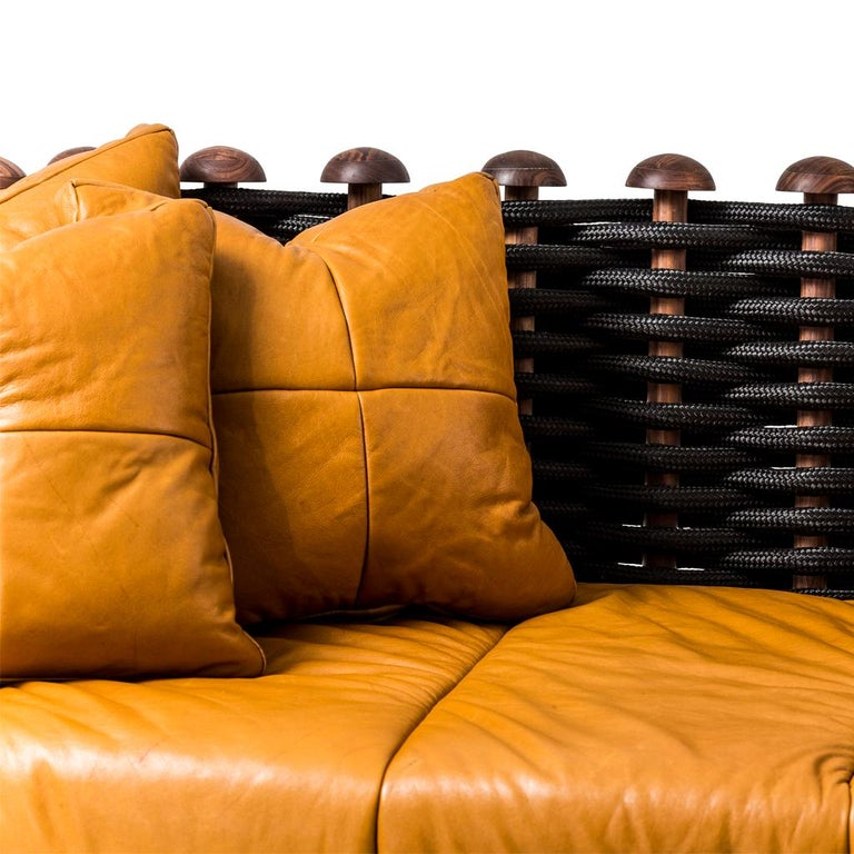 Contemporary Leather, Walnut and Rope Shaker Sofa by Egg Designs For Sale