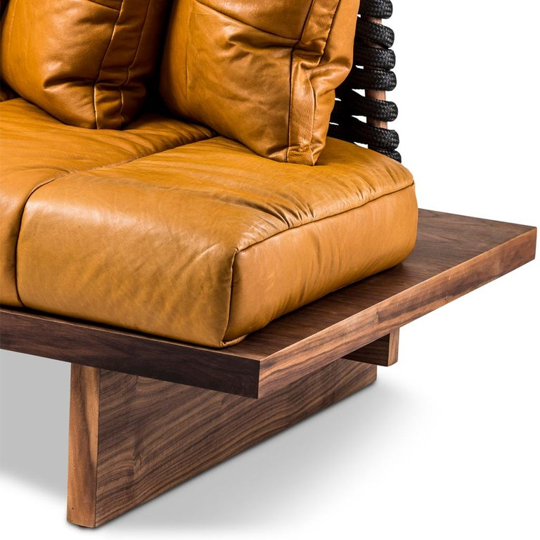 Leather, Walnut and Rope Shaker Sofa by Egg Designs For Sale 2
