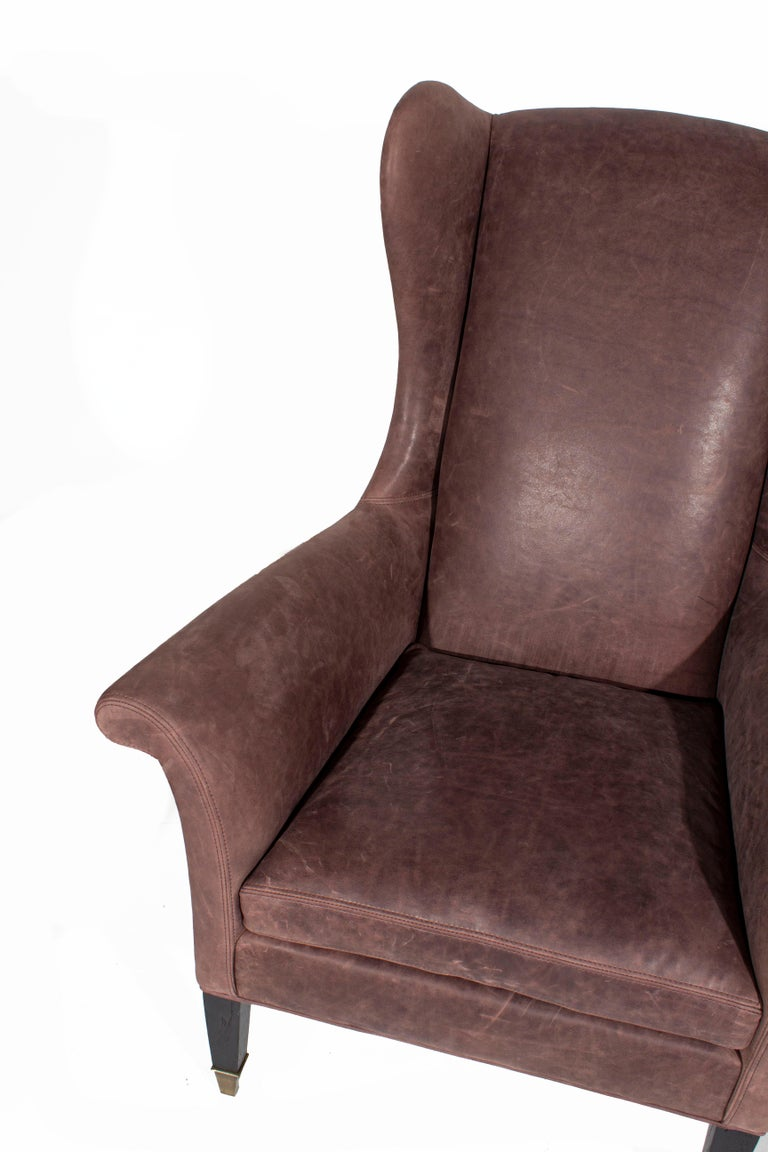 Leather Wing Back Executive Chair In Excellent Condition In Dallas, TX