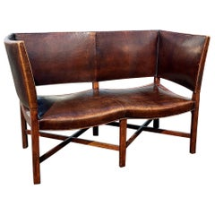Leather Wing Back Modernist Settee