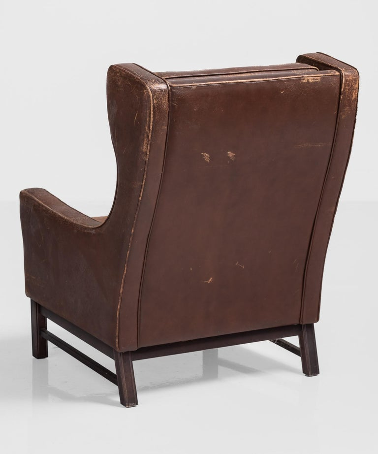 Mid-Century Modern Leather Wingback Armchair, Denmark, circa 1960 For Sale