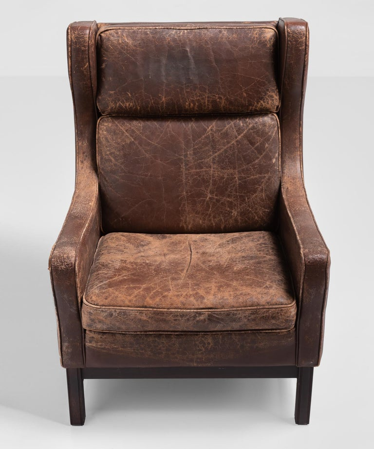Danish Leather Wingback Armchair, Denmark, circa 1960 For Sale