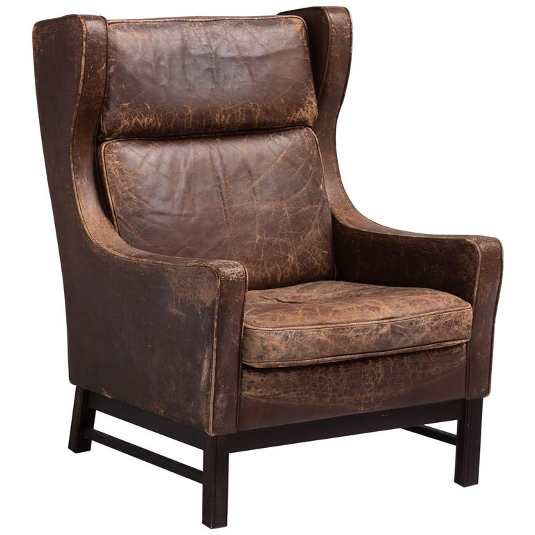 Leather Wingback Armchair, Denmark, circa 1960 For Sale