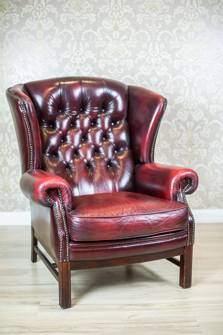 Leather Wingback Armchair from the 1970s For Sale at 1stdibs