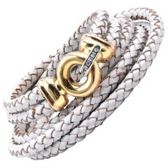 Leather Wrap Bracelet with 14 Karat Yellow Gold Diamond Buckle Clasp