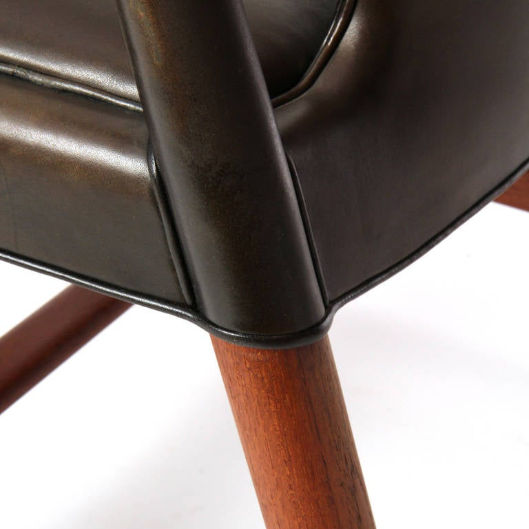 1950s Danish Leather Wrapped Armchair by Ludvig Pontopiddan For Sale 5