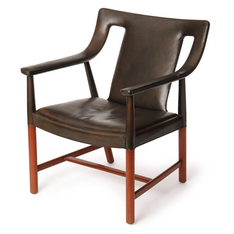 Scandinavian Modern 1950s Danish Leather Wrapped Armchair by Ludvig Pontopiddan For Sale