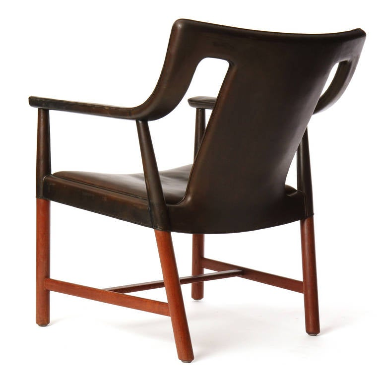 1950s Danish Leather Wrapped Armchair by Ludvig Pontopiddan In Good Condition For Sale In Sagaponack, NY