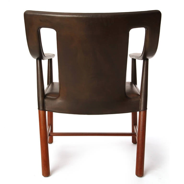 Mid-20th Century 1950s Danish Leather Wrapped Armchair by Ludvig Pontopiddan For Sale