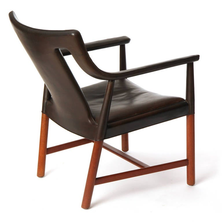1950s Danish Leather Wrapped Armchair by Ludvig Pontopiddan For Sale 1